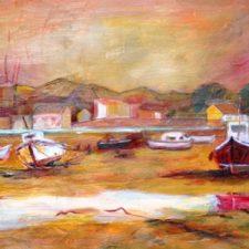 Strand van Malaga bij avond, 2000, olieverf op doek, 67x33 cm, € 150,--