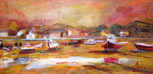 Strand van Malaga bij avond, 2000, olieverf op doek, 33x67 cm, € 150,--