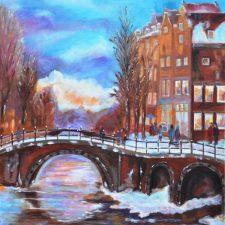 Winteravond in Amsterdam, 2014, olieverf op doek, 40x50 cm, € 200,--