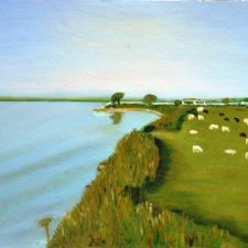 Zomer aan de Westdijk,1996, olieverf op canvas board, 40x30 cm, € 100,--