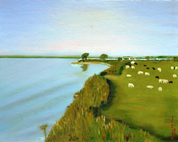 Zomer aan de Westdijk,1996, olieverf op canvas board, 30x40cm, € 100,--