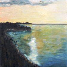 Zonsondergang aan de Westdijk, 1996, olieverf op paneel, 40x50 cm, € 100,--