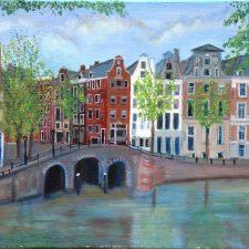 Amsterdamse gracht, olieverf op doek, 40x30 cm, € 200