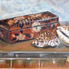 Japans doosje met schelpen, 2007 24x18 cm,€ 75,--