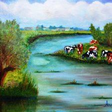 Koeien aan de Eem, 2014, 50x40 cm, olieverf op doek,€ 200,–