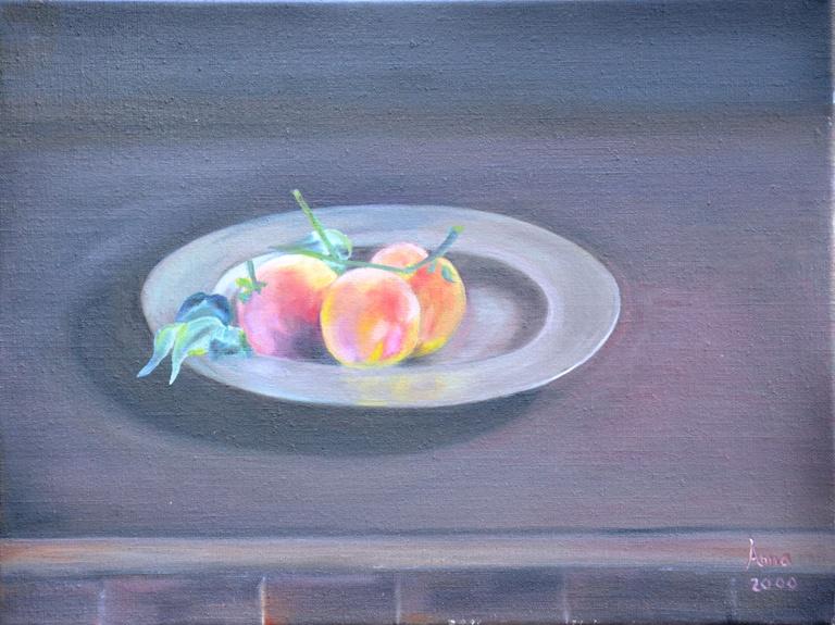 Tinnenschaal met perzikken, 2000, olieverf op doek, 40x30 cm
