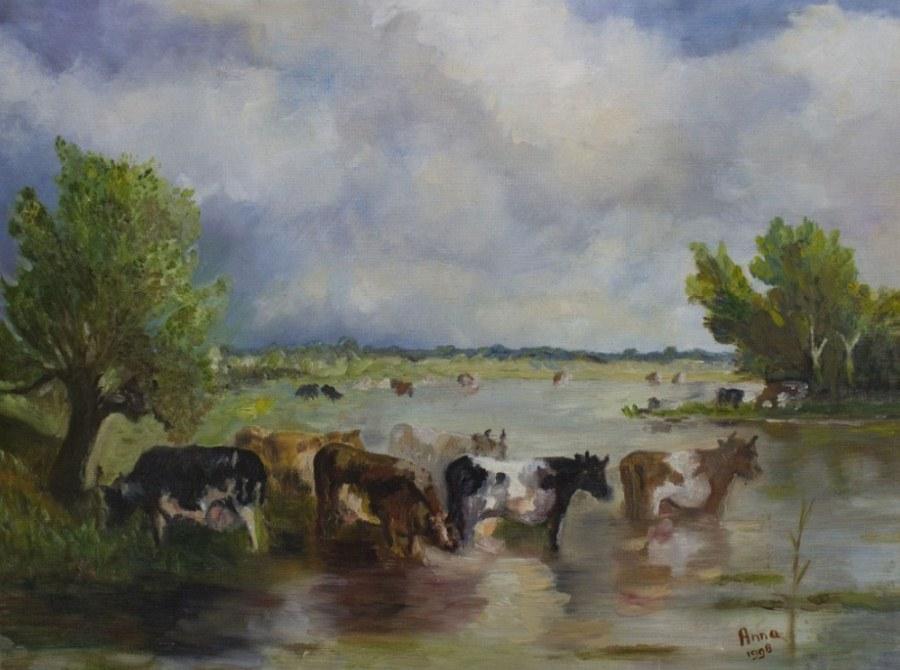 Polderlandschap met koeien | 1998 | Olieverf op doek |60x80 cm